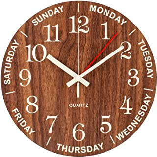 BEW Silent Day Clock, Day of The Week Clock Glow in The Dark, Small Analog Battery Operated Wooden Wall Clock for Bedroom, Living Room, Office, 12 Inch