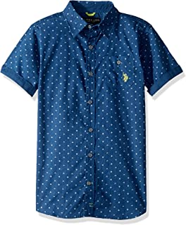 U.S. Polo Assn. Boys Short Sleeve Reverse Printed Woven Shirt Short Sleeve Button Down Shirt - Blue