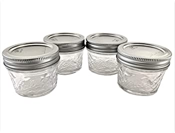 Mason Jelly Jars-4 oz. each - Quilted Crystal Style-Set of 4