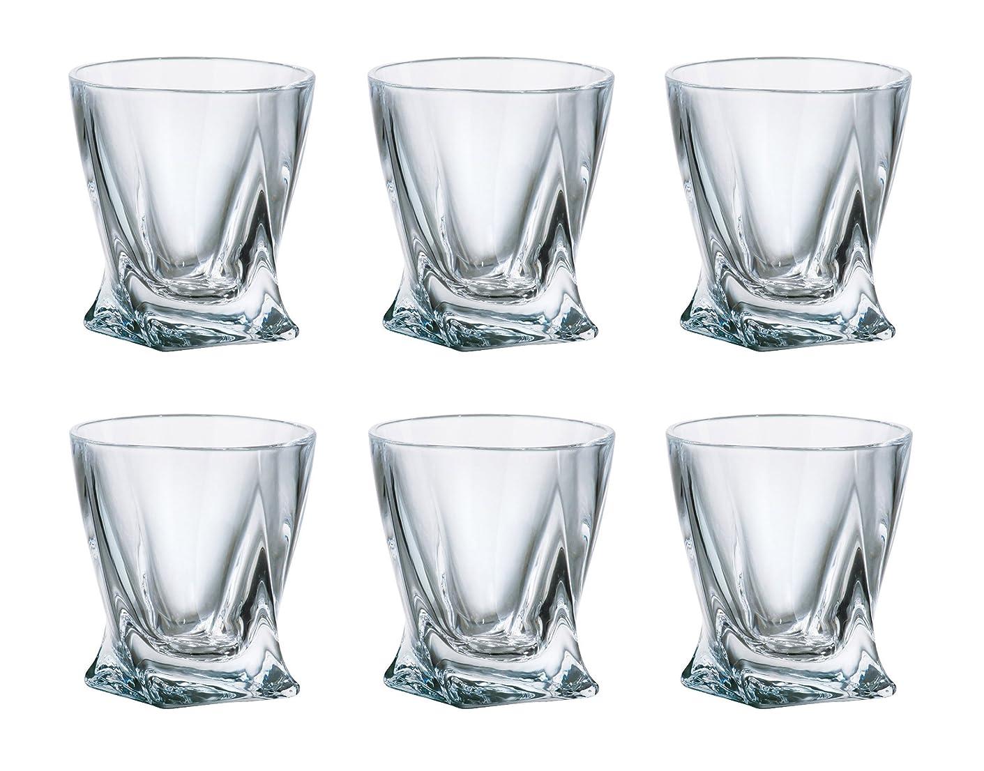 ハウジング時計記念碑的な( Set of 6?) Crystalex Bohemia Quadro、2-ounceボヘミアンクリスタルガラスショットグラス