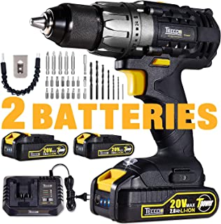 "Drill Driver, 20V Cordless Drill 2x2000mAh Batteries, 30Min Fast Charger 4.0A, 29pcs Accessories, 24+1 Torque Setting, 2-Variable Speed Max Torque 530 In-lbs, 1/2"" Metal Keyless Chuck"