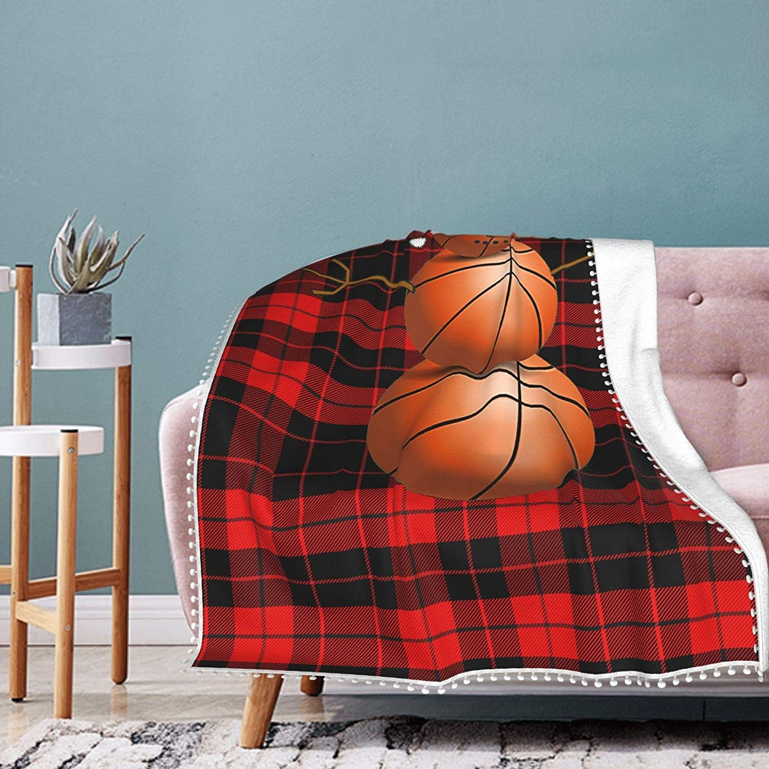 Christmas Basketball Snowman Pompom Flannel T Fleece Max 84% OFF Courier shipping free shipping Full Fluffy