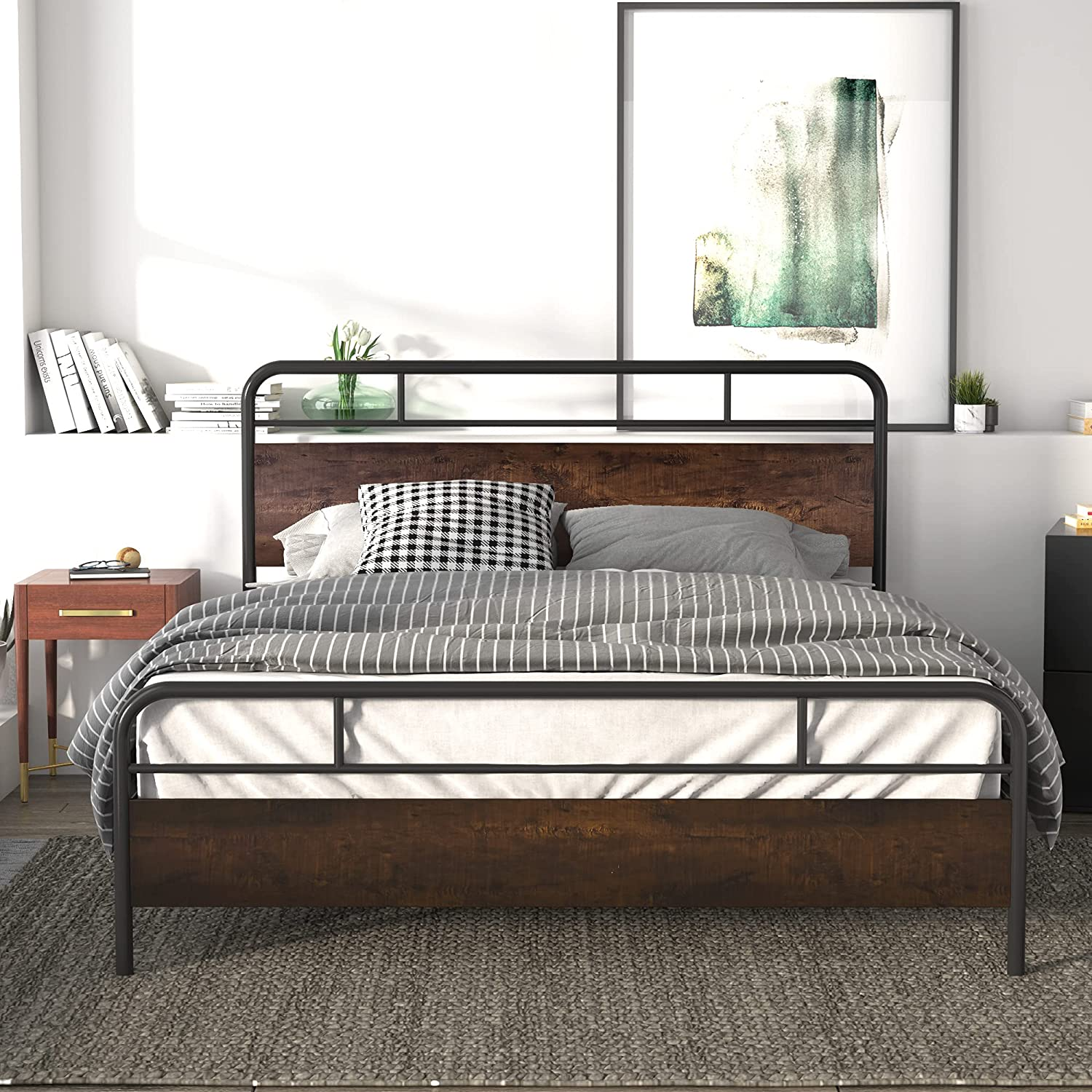 Allewie Matte Bombing Spasm price free shipping Metal Queen Bed with Footboard Headboard Frame