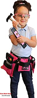 Kids Pink Tool Belt for Girls - Real Children's Tool Pouch for That Cute Little Helper. Play and Create Construction Projects with Your Child. Great for Costume Dress Ups!