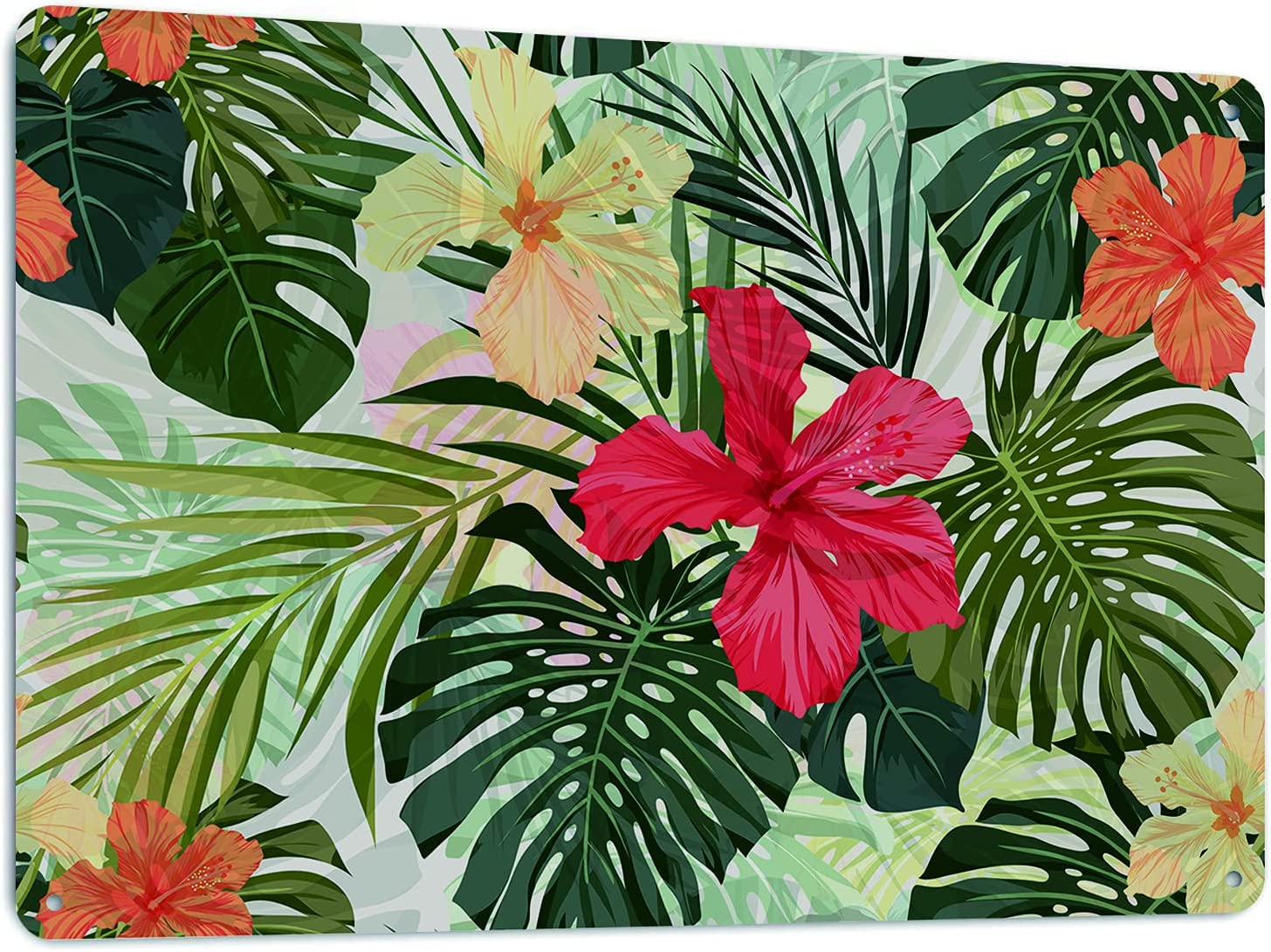 Beabes Hawaiian Tin Signs Retro Style Tropical Leaves Floral Summer Plants Hibiscus Home Wall Decor Wall Art Metal Plaquesfor Home, Bar, Diner, or Pub