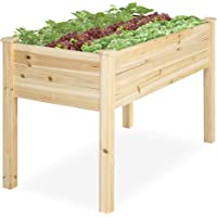 Best Choice Products 46x22x30in Raised Wood Planter Garden Bed Box Stand for Backyard