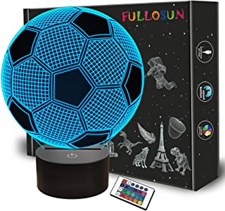 Kids Night Light Football 3D Optical Illusion Lamp with Remote Control 16 Colors Changing Soccer Birthday Xmas Valentine's...