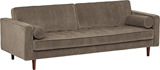 Amazon Brand – Rivet Aiden Tufted Mid-Century Modern Velvet Bench Seat Sofa Couch, 86.6W, Otter Grey