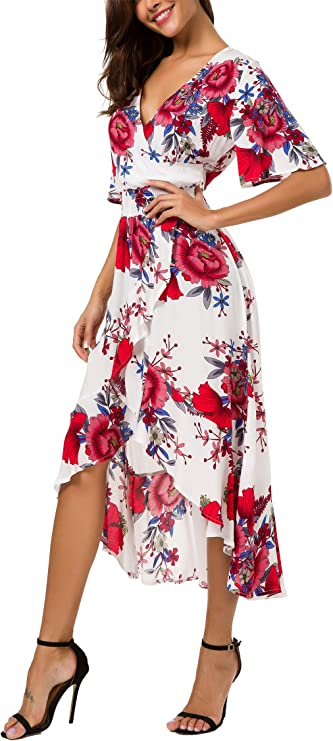 Kormei Romantic Dresses Date Night, Womens Short Sleeve Floral Print Dress