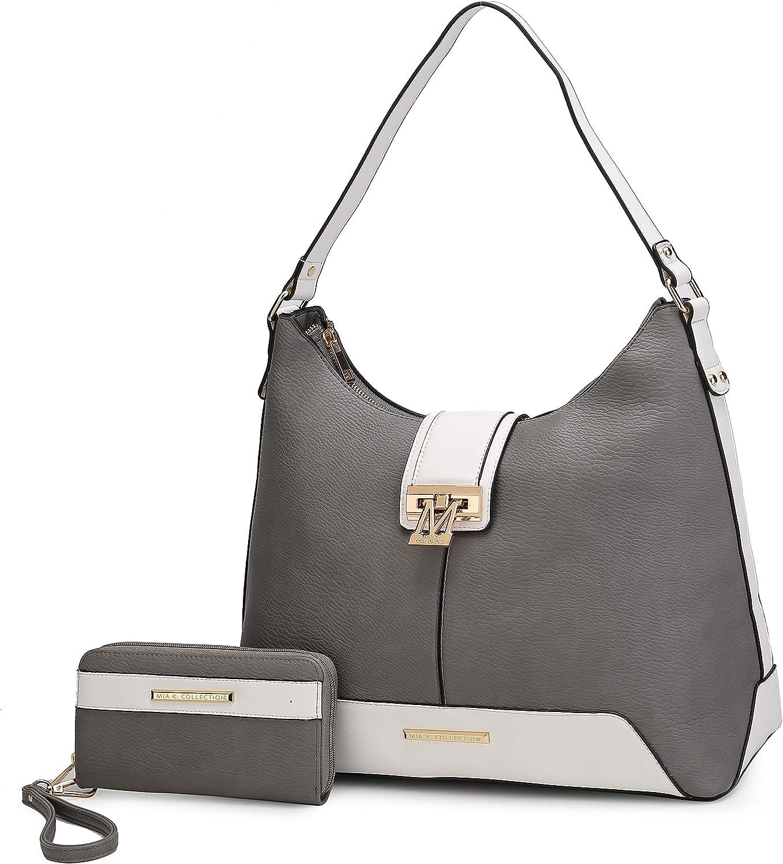 MKF Set Hobo Bag for Women & Wristlet Wallet – PU Leather Designer Handbag Purse – Shoulder Strap Lady Pocketbook