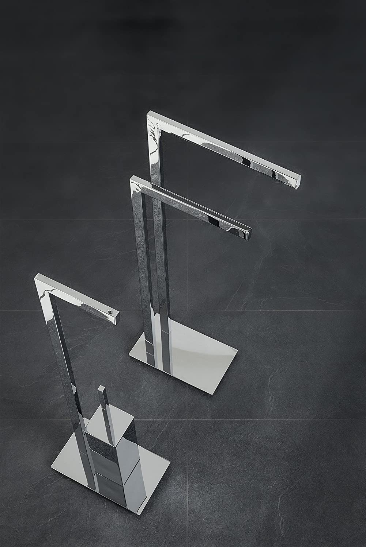 Nicol 4236000 Design-Handtuchständer VOLTERRA, Handtuchhalter mit 2 Armen und massiver Bodenplatte, fester Stand, Messing hochglänzend verchromt B002N2MPXI