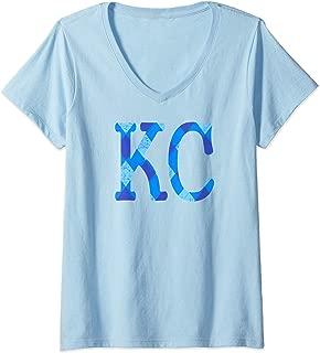 Womens KC Royal Blue Kansas City Vintage Kc Retro Pro Wear V-Neck T-Shirt