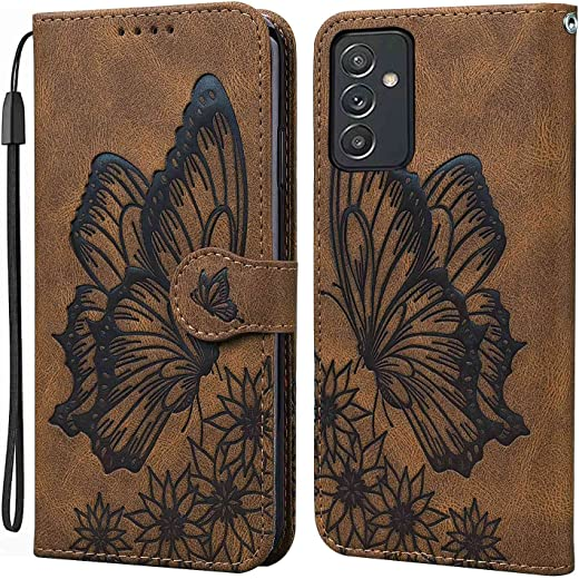 """MOONCASE Wallet Case for Samsung Galaxy Quantum 2, Butterfly Pattern [Card Slots] [Stand] [Wrist Strap] Magnetic Closure Flip Case Cover for Samsung Galaxy Quantum 2 6.7"""" (Brown)"""