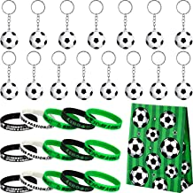 46 Pieces Soccer Party Supply Set Include 15 Packs Soccer Keychains, 16 Pieces Soccer Motivational Silicone Wristband, 15 Pieces Soccer Party Favor Bags for Party Bag Gift Fillers