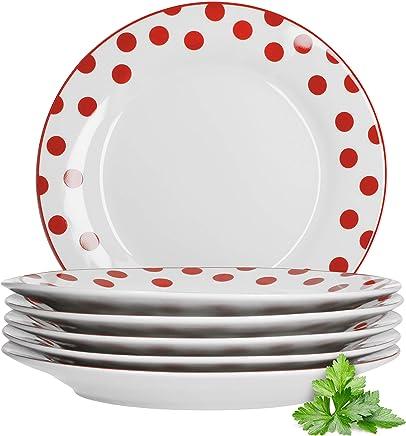 Preisvergleich für Van Well 6er Set Dessertteller Funny   Edler Porzellan-Teller für Frühstück, Kuchen & Gebäck   weiß mit roten Punkten