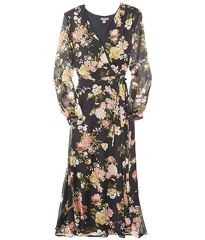 Vince Camuto Long Sleeve Beautiful Blooms Yoryu Wrap Dress (Rich Black) Women