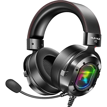 RUNMUS Gaming Headset PS4 Headset Xbox One Headset with 7.1 Surround Sound, Noise Canceling Mic & LED Light, Compatible with Xbox One, PS3, PS4, PS5, PC, Nintendo Switch, Sony PSP