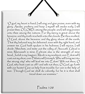 """Wood MDF tile wall hanging Holy Texts & Writings English Psalms chapter 108 TEHILLIM תהילים""""A song, a psalm of David. My h..."""