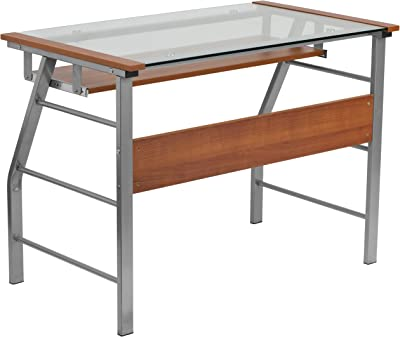Flash Furniture Glass Computer Desk with Pull-Out Keyboard Tray and Bowed Front Frame