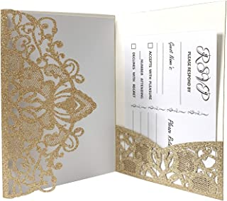 Gold Fortune 25 Packs Laser Cut Quinceanera Wedding Invitations with Insert Sheets RSVP Cards Kit and Envelopes for Baby Shower Party Favors Girl (DC Glitter Gold)