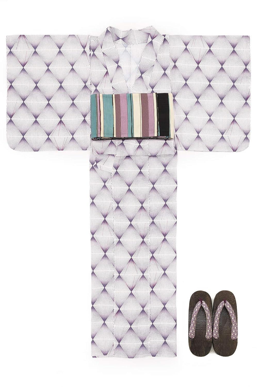 (ソウビエン) 浴衣 セット レディース 灰紫色 パープル 白 幾何学模様 菱 綿 アートモダン 綿 半幅帯 マクレ ボヌールセゾン