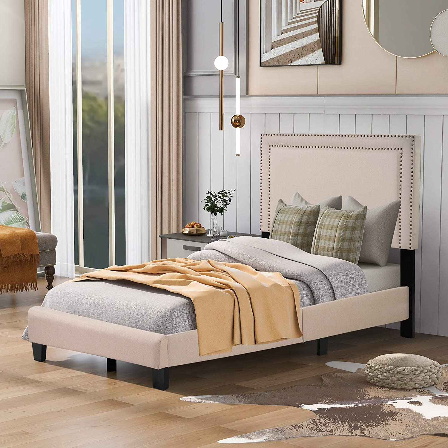 Regular store Knocbel Special price for a limited time Upholstered Twin Bed Frame with and T Nailhead Headboard