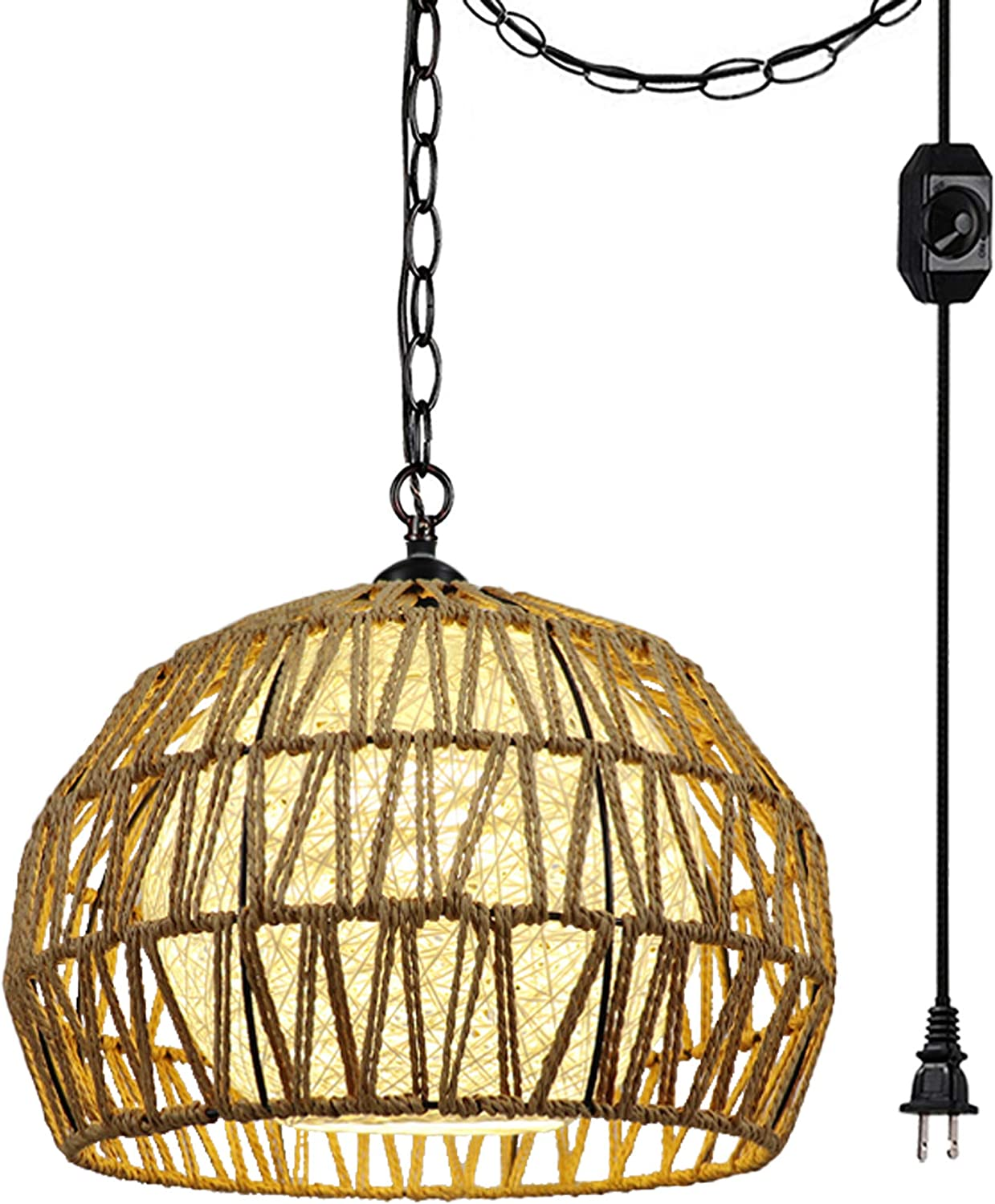online shopping Hanging Swag Ceiling Lamp Twine Lampshade Wiri Natural No Max 80% OFF Rattan
