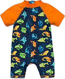Bonverano(TM Baby Boy UV Swimsuit UPF 50+ Sun Protection S/S One Piece Kids Sunsuit with Zipper