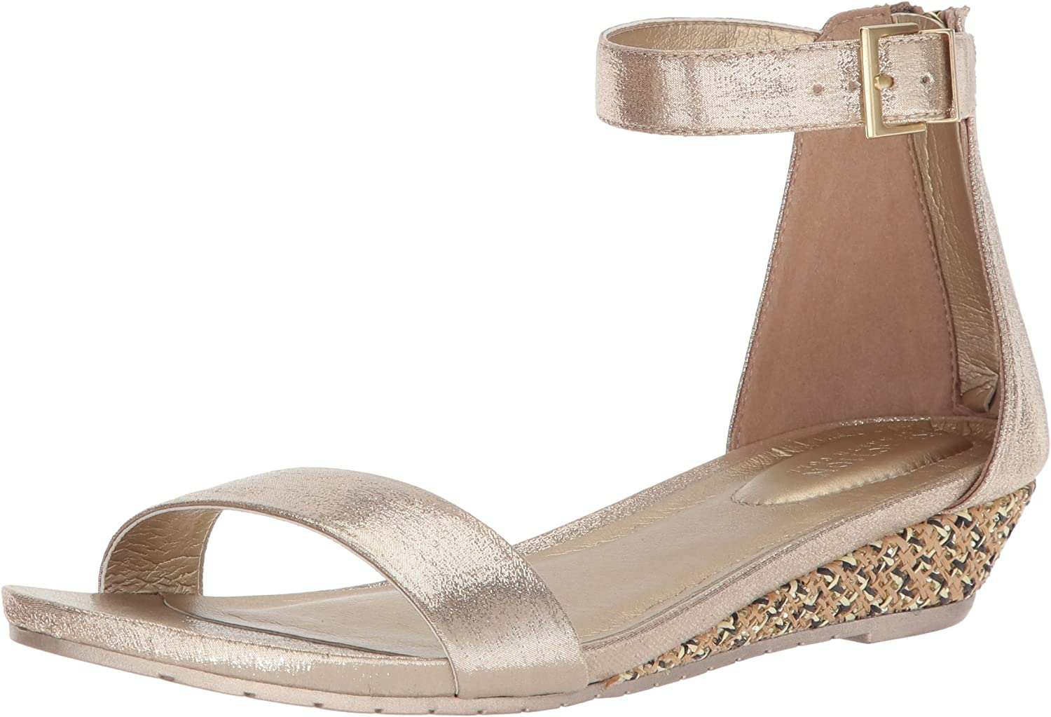 Kenneth Cole REACTION Womens Great Viber Ankle Strap Low Wedge Sandal Wedge Sandal