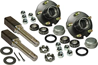 Rigid Hitch Pair of 5-Bolt On 4-1/2 Inch Hub Assembly (AKSQ-2200545) Includes (2) Square Shaft 1-1/16 Inch Straight Spindles & Bearings