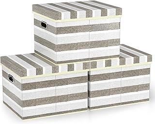 Organisateur de Rangement Pliable Avec Couvercles, Bacs de Rangement en Tissu de Lin FINEW Lot de 3, Boîte de Rangement Pl...