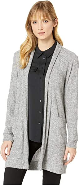 Brushed Rib Knit Two-Pocket Cardigan