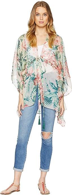 Tropical Floral Tie Waist Kimono