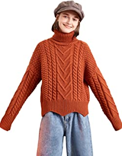 Women's Le Jardin Dart Series Wool Blend Turtleneck Irish Sweater Cable Knit Pullover Top Red