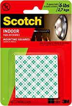 Scotch Indoor Mounting Tape, Holds up to 6 pounds, 1×1 inch, 48 squares