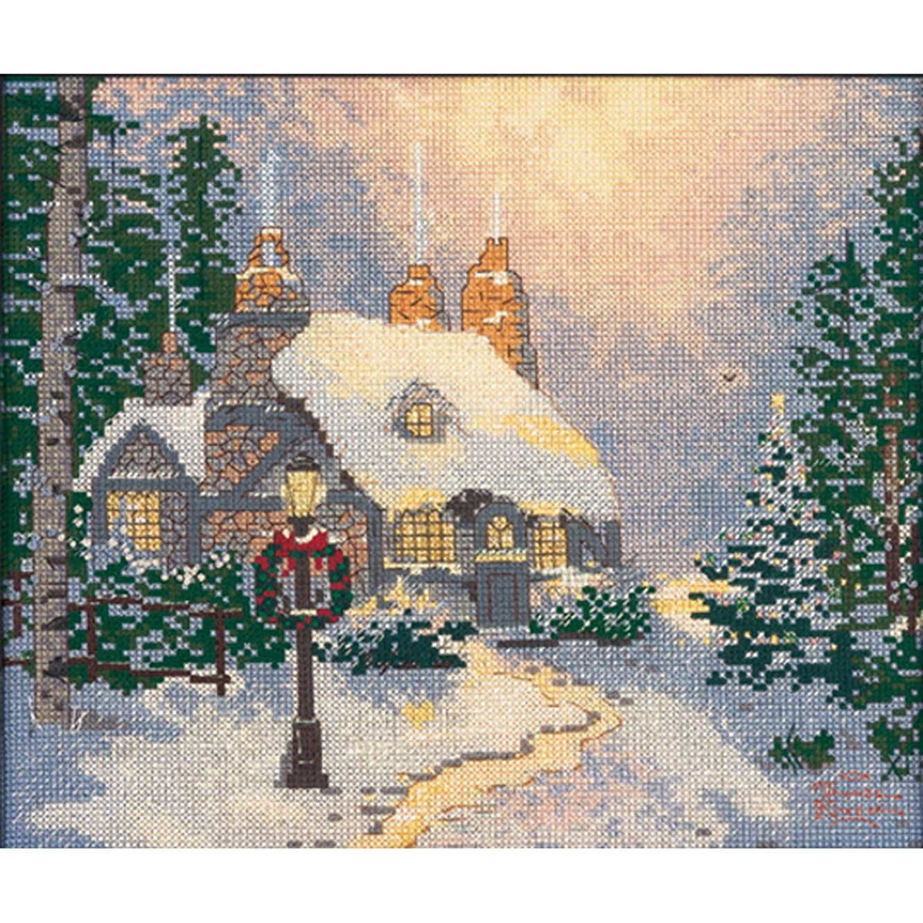 M C G Textiles 14 Count Thomas Kinkade Stonehearth Hutch Counted Cross Stitch Kit, 10 by 8-Inch