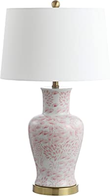 Safavieh Lighting Collection Calli Pink/White 28-inch Bedroom Living Room Home Office Desk Nightstand Table Lamp (Set of 2) - LED Bulbs Included