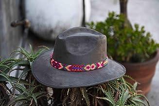 Sombrero de Gamuza artesanal gris M con arte rosa