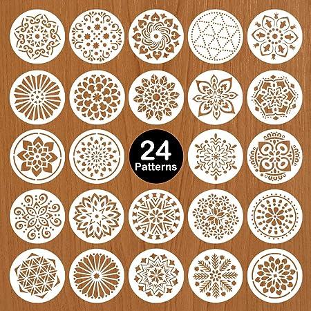 Mocoosy 24pcs 5 pouces pochoirs Mandala - Pochoir de peinture Mandala Dot Modèle pour la peinture sur bois Réutilisable Pochoir de dessin en plastique pour meubles en tissu de mur de pierres de roche