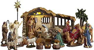 23 Pieces, 5-Inch The Real Life Nativity - Includes Lighted Stable, Palm Tree and Chests of Gold, Frankincense and Myrrh