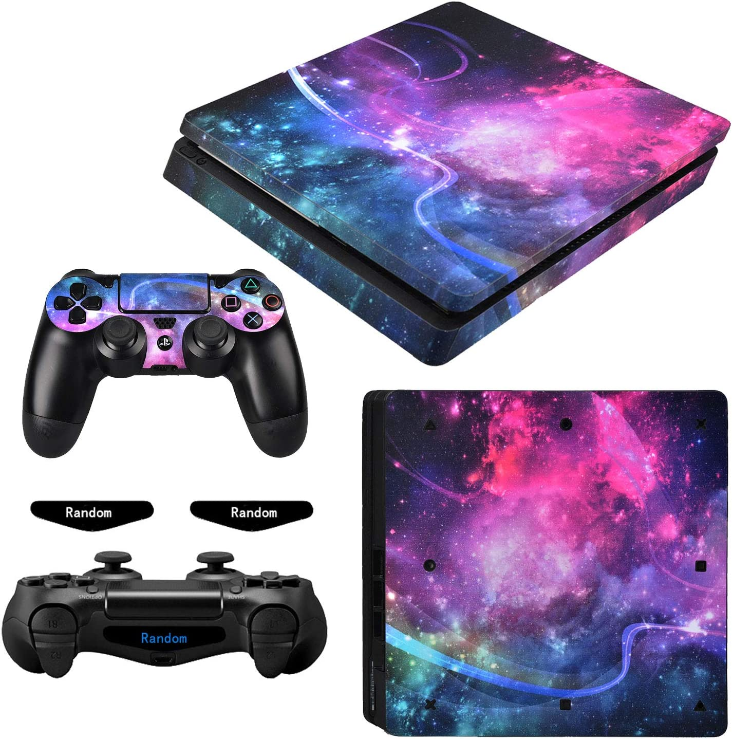 eXtremeRate Full Set Faceplate Skin Decals Stickers and 2 Led Lightbar for Playstation4 Slim/for PS4 Slim Console & 2 Controller Decal Covers - Shining Galaxy