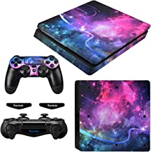 eXtremeRate Full Set Faceplate Skin Decals Stickers and 2 Led Lightbar for Playstation4 Slim/PS4 Slim Console & 2 Controll...