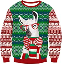 UNICOMIDEA Men&Women Ugly Christmas Sweater Long Sleeve Pulloves Round Neck Knitted Sweaters Graphic Blouse Shirt