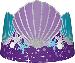 amscan- Mermaid Paper Pcs Wishes Tiaras de Papel 8 Piezas, Color deseos de sirena (250827)