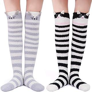 LittleForBig, 2 pares de calcetines largos de forro polar de coral con diseño de animales