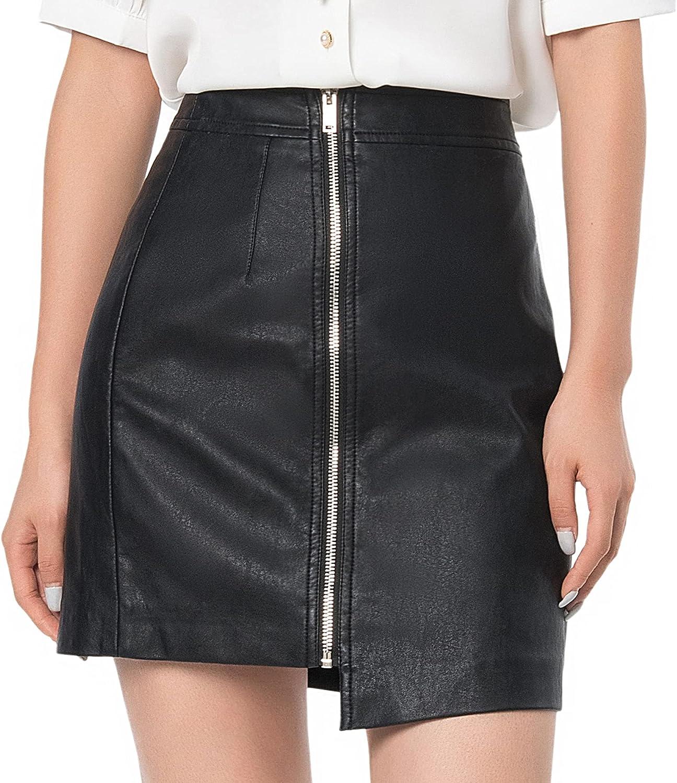 Women's Faux Leather Casual Irregular Hem High Waist Zipper Front Slim Mini Pencil Bodycon Skirt