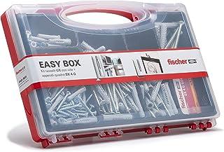 Fischer 513433 Kit Set Easy Box pluggen en schroeven gesorteerd voor bevestiging aan massieve muren, grijs, 136 stuks