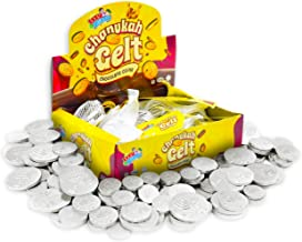 Hanukkah Gelt Coins Chocolate - Kosher Bittersweet Chocolate Coins (Parve) - 24 Mesh Bags Filled with Menora Embossed Hanu...