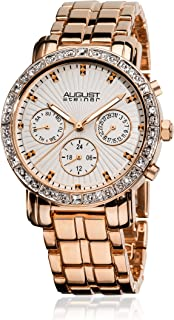 August Steiner Women's Multifunction Fashion Watch - Crystal Bezel with Day of Week, Date, and 24 Hour Subdial on Rose Gol...