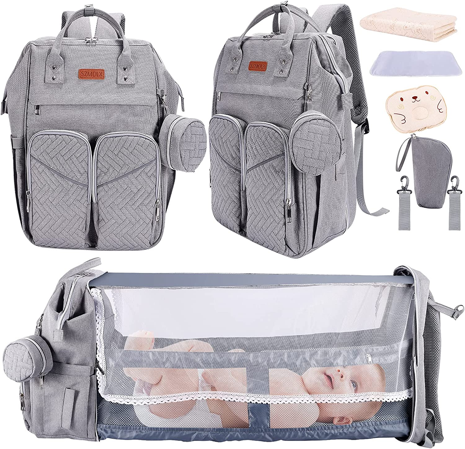 8 in 1 Baby Diaper Bag Backpack with Changing Station Diaper Bags for Baby Bags for Boys Girl Diper Bag with Bassinet Bed Mat Pad Men Dad Mom Travel Waterproof Stroller Straps Large Capacity (Grey)